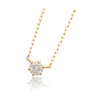 L&Co. (エルアンドコー) 【ペーパーボックス&バッグ付】 K18 シンプル ダイヤモンド 0.1ct 1粒 ネックレス