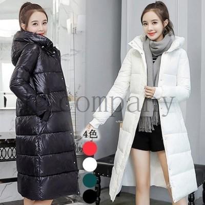 ロング丈コート中綿コートレディースダウンジャケット軽量大きいサイズ長袖アウターフード付きダウンコート暖かい冬中綿入れジャケット