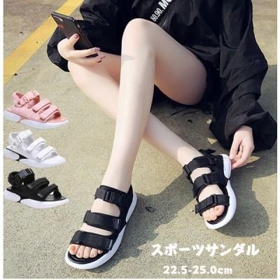 サンダルレディーススポーツサンダル厚底カジュアルコンフォートストラップサンダル歩きやすい大きいサイズ20代30代40代黒3色選択可