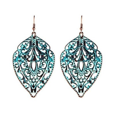 Patina Copper-Tone Metal Filigree Dangle Earrings【送料無料】
