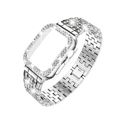 DABAOZA Apple Watch用バンド 44mm ケース付き キラキラ光るレディース ガールズ ドレッシーなフルスパークリングダイヤモンドバン好評販売中