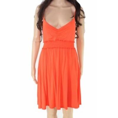 Soprano ソプラノ ファッション ドレス Soprano Womens Orange Size Medium M Smocked V-Neck Sheath Dress