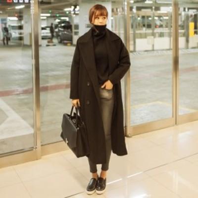 トレンチコート ロング レディース 大きいサイズ 3L 厚手 薄手 ダブルブレスト オーバーサイズ ゆったり アウター 韓国 冬 全4色 黒