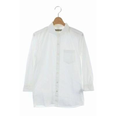 【中古】ナノユニバース nano universe カジュアルシャツ 七分袖 胸ポケット S 白 ホワイト /DF メンズ 【ベクトル 古着】