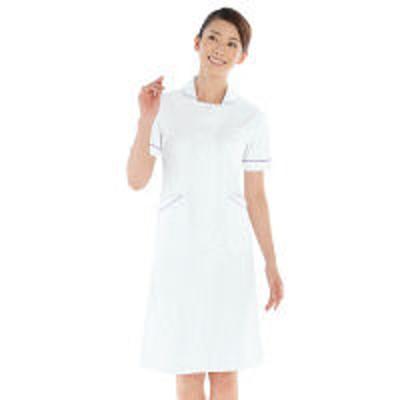 KAZENKAZEN ワンピース半袖 (ナースワンピース) 医療白衣 ホワイト×パープル S 020-29(直送品)