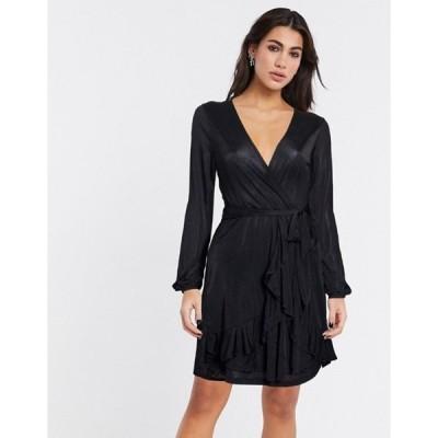 ヴィラ レディース ワンピース トップス Vila wrap dress in black