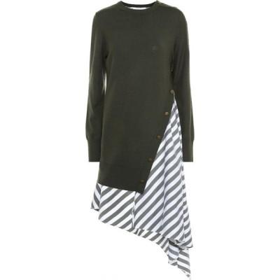 モンス Monse レディース ワンピース ワンピース・ドレス striped wool and cotton dress Olive/White