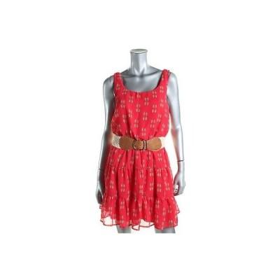 海外セレクション ドレス ワンピース City Studio 9778 レディース レッド Chiffon プリントed ノースリーブ カジュアル ドレス M BHFO