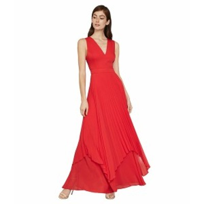 ビーシービージーマックスアズリア レディース ワンピース トップス Pleated Cutout Gown Rosso