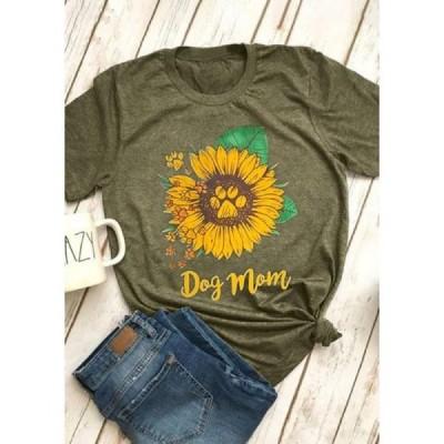 レディース 衣類 トップス Sunflower Print Women Casual Short Sleeved T-Shirt グラフィックティー