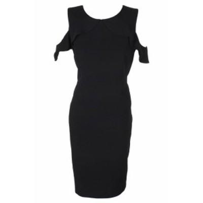 Calvin Klein カルバンクライン ファッション ドレス Calvin klein black cold-shoulder ruffled crepe dress straight 14