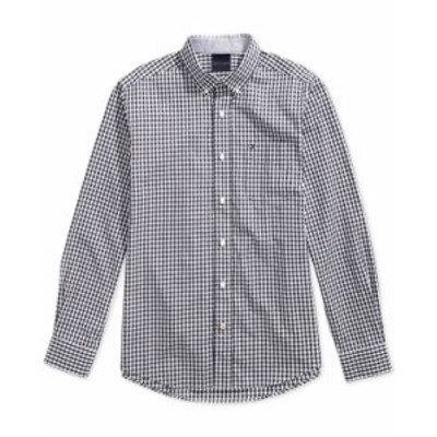 トミー ヒルフィガー メンズ シャツ トップス Men's Twain Check Shirt with Magnetic Buttons Sky Captain