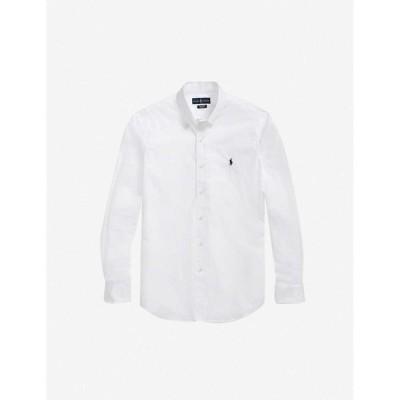 ラルフ ローレン POLO RALPH LAUREN メンズ シャツ スキニー・スリム スリム トップス Logo-embroidered slim-fit cotton shirt WHITE