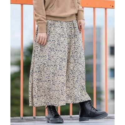 スカート フラワープリントタックロングスカート#