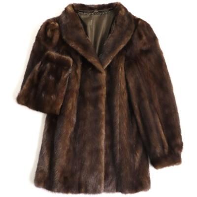 美品▼SAGA MINK サガミンク 裏地ロゴ柄 本毛皮コート ダークブラウン 毛質艶やか・柔らか◎