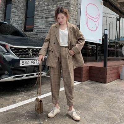 レディースファッション セットアップ パンツ チェック ダブル レトロ カジュアル オルチャン 韓国