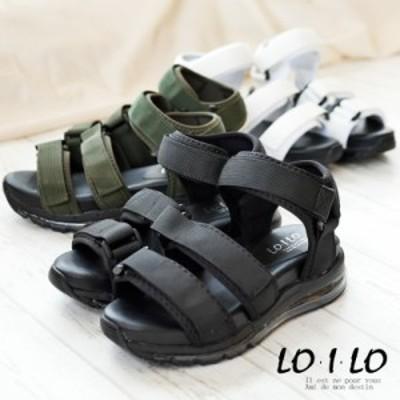 LOILO ロイロ スポーツサンダル レディース 靴 ベルクロ エアーソール 厚底 フラット 黒 カーキ 3e 歩きやすい 痛くない 旅行
