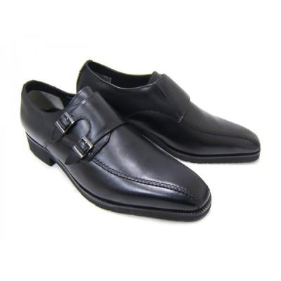 WORLD MARCH/ワールドマーチ WM2074BW ブラック 紳士靴 スリップオン モンクストラップ ビジネス 送料無料 48520741