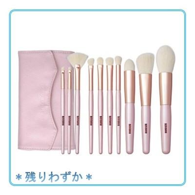 BENIBANA メイクブラシセット収納ポーチ付き 上品ピンクで高品質おすすめ化粧筆セット ふんわり大人かわいい柔