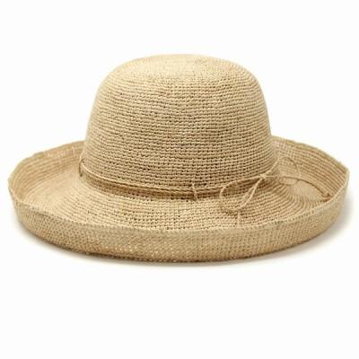 帽子 レディース サイズ調節 麦わら帽子 細編みセーラー UVカット ラフィアハット つば広 春 夏 ストローハット レディース セーラーハット/ナチュラル