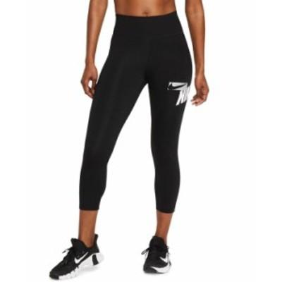 ナイキ レディース カジュアルパンツ ボトムス One Women's Cropped Graphic-Print Leggings Black/Grey