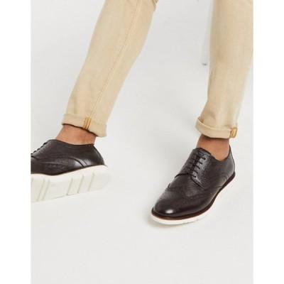 コモンピープル メンズ スリッポン・ローファー シューズ Common People leather brogue shoe in brown