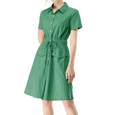 uxcell Allegra K シャツワンピース 綿 無地 ボタン ウエストゴム 半袖 ポケット付き レディース グリーン XS