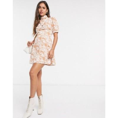 ファッションユニオン Fashion Union レディース ワンピース ミニ丈 ワンピース・ドレス mini dress with high neck and puff sleeve in two tone floral