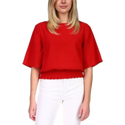 マイケル コース Michael Kors レディース トップス Petite Smocked Elbow-Sleeve Top Scarlet