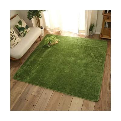 ラグ マット カーペット 約100x150cm 1畳 洗える ウレタン すべり止め ホットカーペット 床暖可 芝生風 可愛い お?