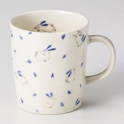 マグカップ はね うさぎ 青 おしゃれ 業務用 美濃焼 9d73819-208