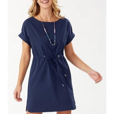 トッミーバハマ レディース ワンピース トップス Veranda Short Sleeve Drawstring Waist Dress Island Navy