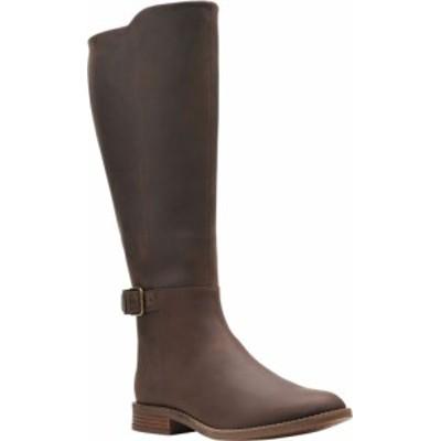 クラークス レディース ブーツ・レインブーツ シューズ Women's Clarks Camzin Branch Wide Calf Knee High Boot Dark Brown Leather