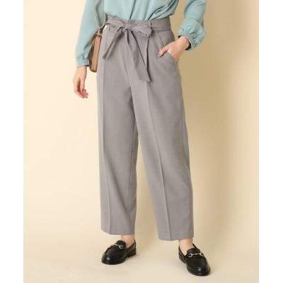 Couture Brooch(クチュールブローチ) 【手洗い可】リボンツイルテーパードパンツ
