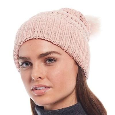 ディラーズ レディース 帽子 アクセサリー Women's Tuck Stitch Beanie With Faux Fur Pom