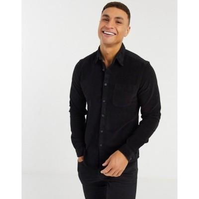 エイソス メンズ シャツ トップス ASOS DESIGN slim fit cord shirt in black