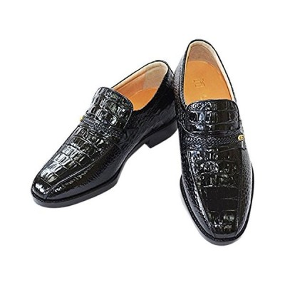 [北嶋製靴工業所] シークレットシューズ ビジネス 本革 国産 スリッポン 通気性 革靴 日本製 紳士靴 メンズ 幅広 クロコ型押し 5cm