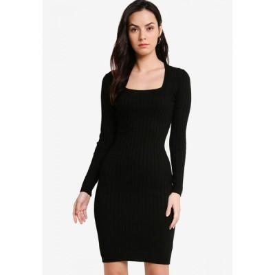 ザローラ ZALORA レディース ボディコンドレス ワンピース・ドレス Square Neck Knitted Bodycon Dress Black