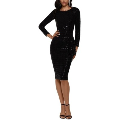 ベッツィ アンド アダム ワンピース トップス レディース Sequin-Dot Sarong Dress Black