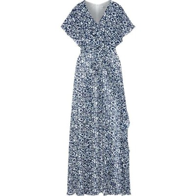 ミカエル アガール MIKAEL AGHAL レディース パーティードレス マキシ丈 ワンピース・ドレス ruffled printed georgette maxi dress Navy