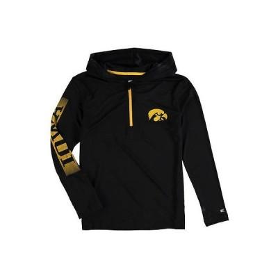 スポーツ ファン ウェア レプリカ ユニフォーム 応援 カレッジ NCAA コロシアム Colosseum Iowa Hawkeyes Youth Black Sleet Quarter Zip Windshirt Hoodie