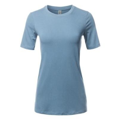 レディース 衣類 トップス A2Y Women's Basic Solid Premium Cotton Short Sleeve Crew Neck T Shirt Tee Tops Cement S ブラウス&シャツ