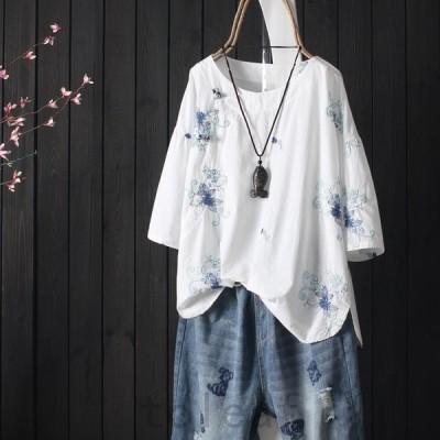 シャツレディースブラウス綿麻花柄刺繍プルオーバーチュニック体型カバークルーネック春夏