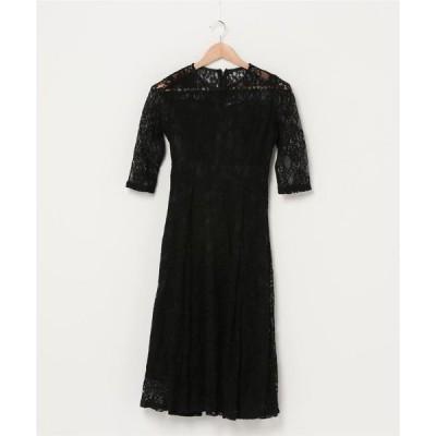 ドレス 五分袖総レース ミモレ丈ワンピースドレス