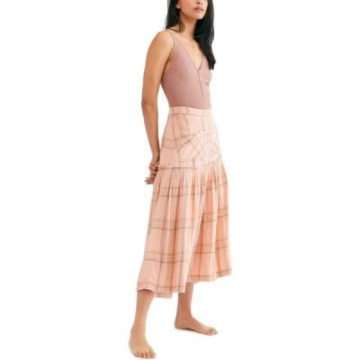 フリーピープル Free People レディース ひざ丈スカート スカート Plaid Fever Midi Skirt Peach