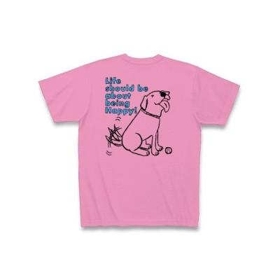 ハッピーパピーラブラドール2 Tシャツ Pure Color Print(ピンク)