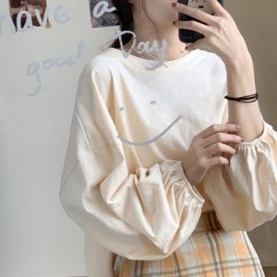4色 ボリューム袖 カットソー ロンT シンプル ベージュ パープル オレンジ レディース ファッション 韓国 オルチャン