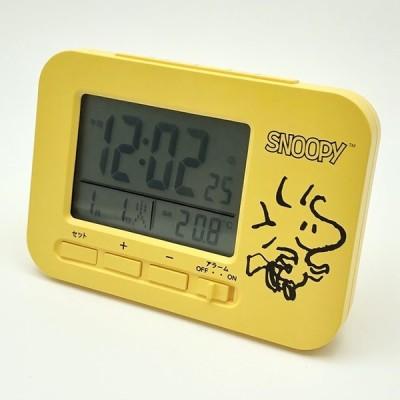 AC19057SN JCシュアーズ スヌーピー ウッドストック 電波置き時計 イエロー
