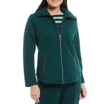 ルビーロード レディース ジャケット&ブルゾン アウター Petite Size Point Collar Quilted Knit Zip Jacket Forest