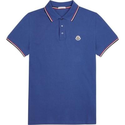 モンクレール Moncler メンズ ポロシャツ トップス blue pique cotton polo shirt Blue
